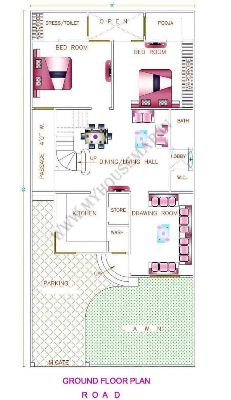 north facing simple house plan