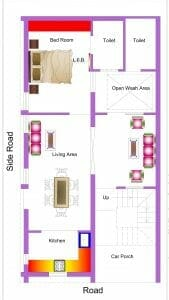 1 bhk house map