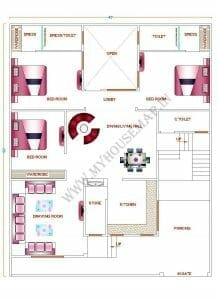 4 bhk house map 2000 sq ft