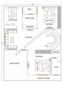 3 bhk house map design 30×40 ft