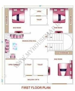 small house map 1000 sq ft