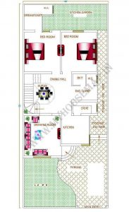 2 bedroom house plan east facing