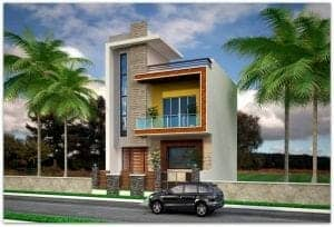 front elevation for 2 floor house in india