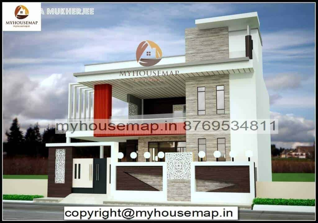 front elevation for 2 floor house