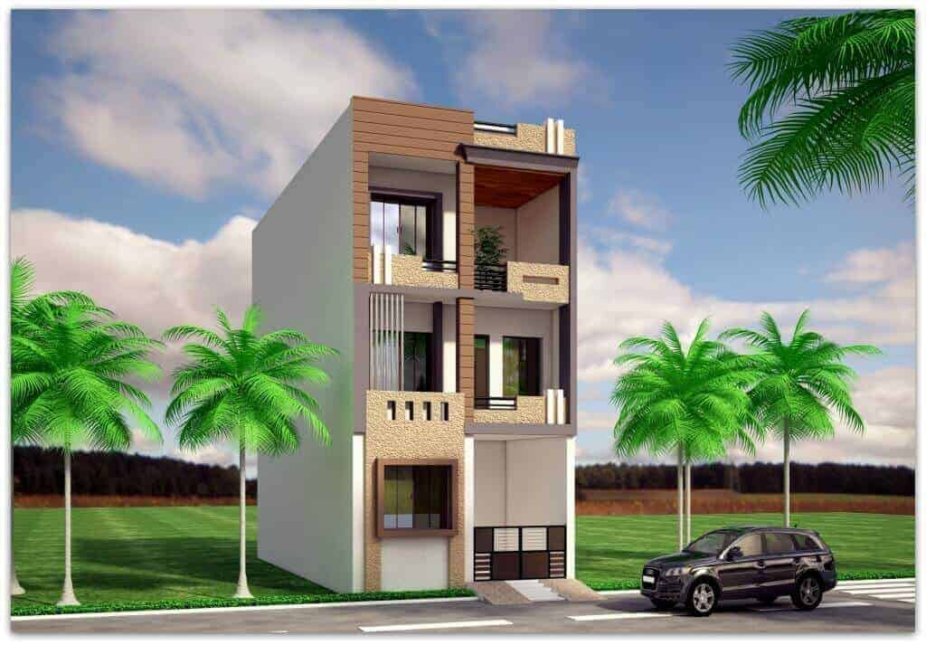 front elevation for 3 floor house
