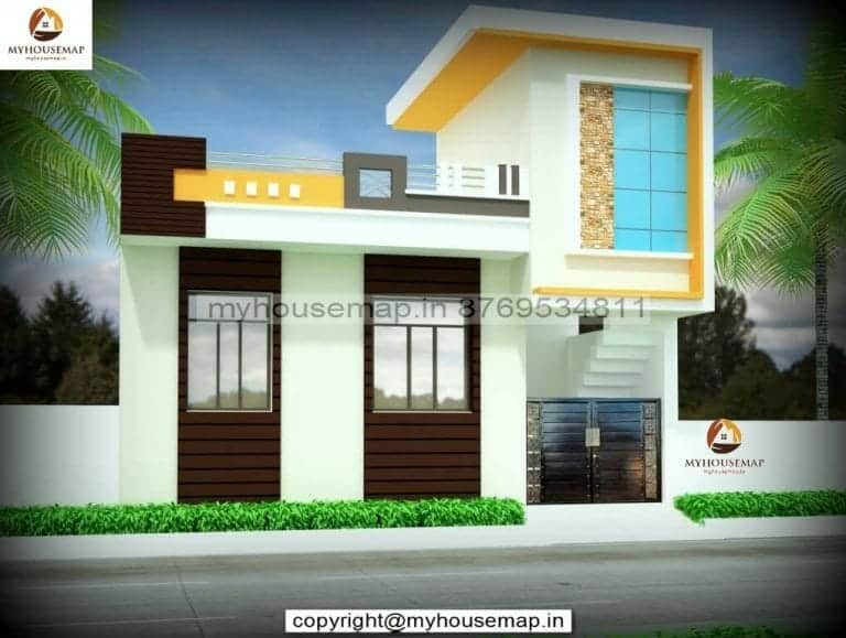 front elevation single floor house