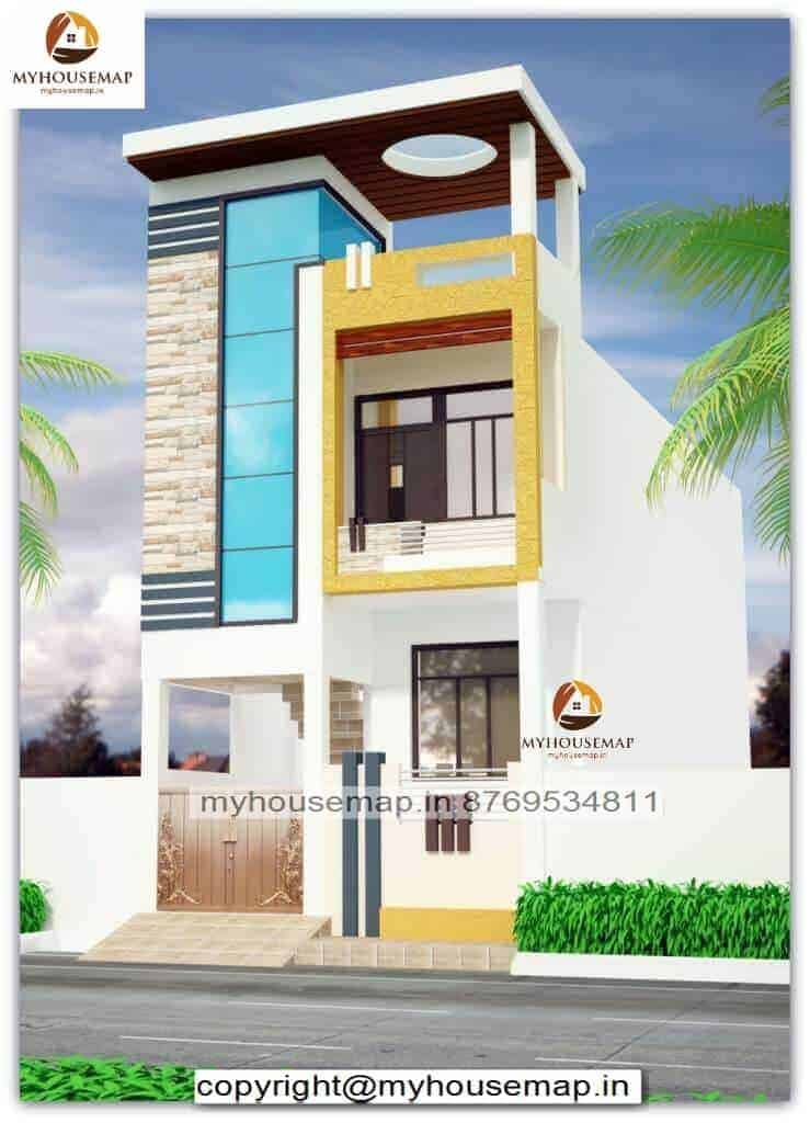 Modern Front Elevation Designs For Small Houses Orange Color
