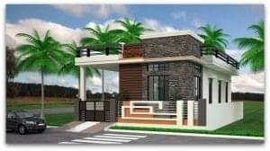 single floor house front elevation