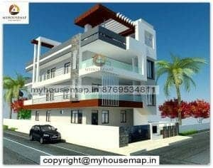 3 floor house front elevation