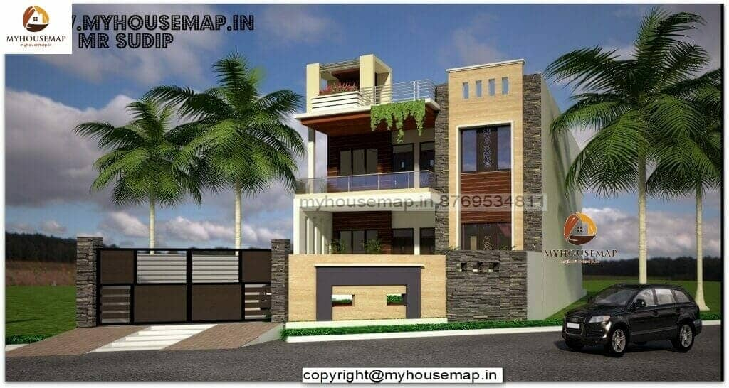 3d front elevation of houses in india