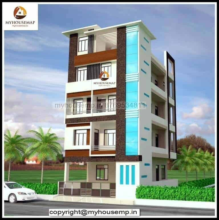 Elevation Designs For 4 Floors Building Brown And White Color