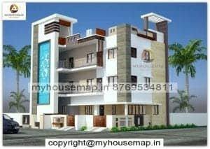 elevation for g+2 floor building