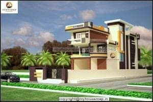 elevation of duplex house