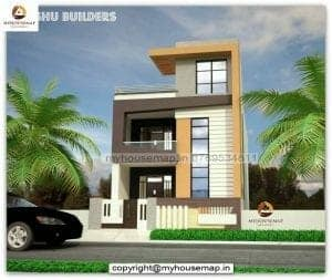 front elevation double floor house