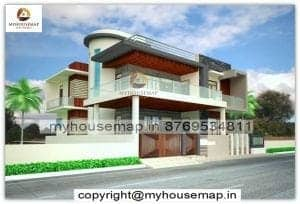 front elevation of house with balcony