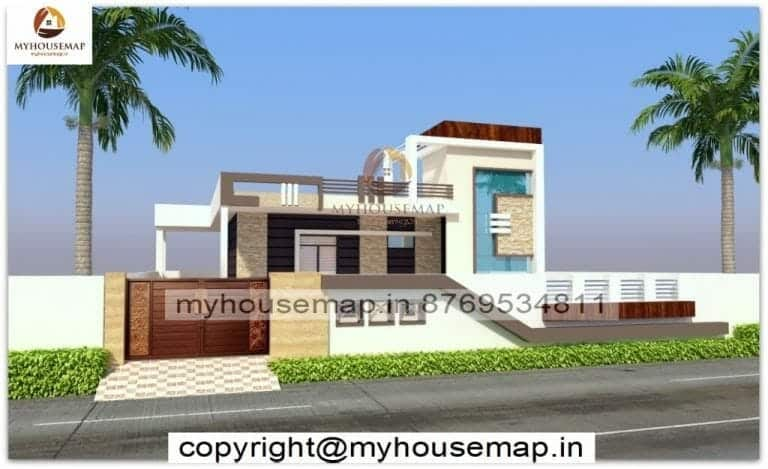 simple front elevation of house