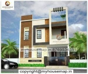 small house with car parking elevation