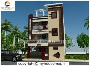 3 floor front house elevation design