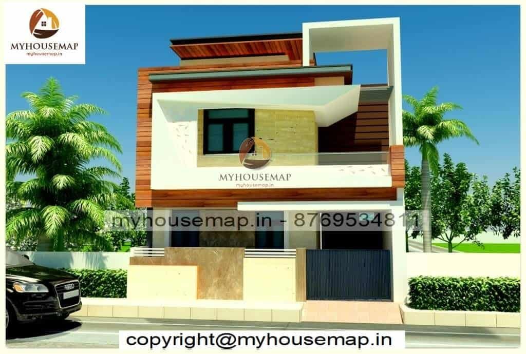 Double story 3d front elevation