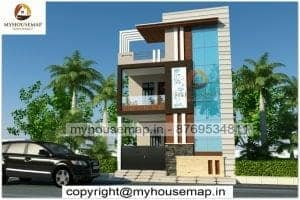 Simple house front elevation