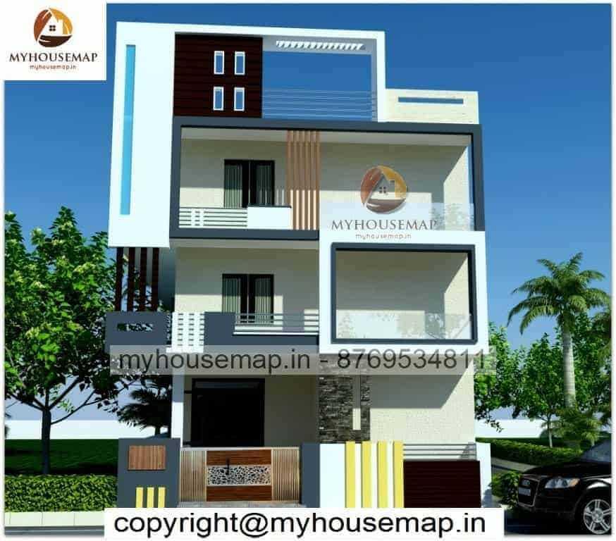 Triple story 3d front elevation