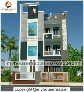 Triple story house front elevation design