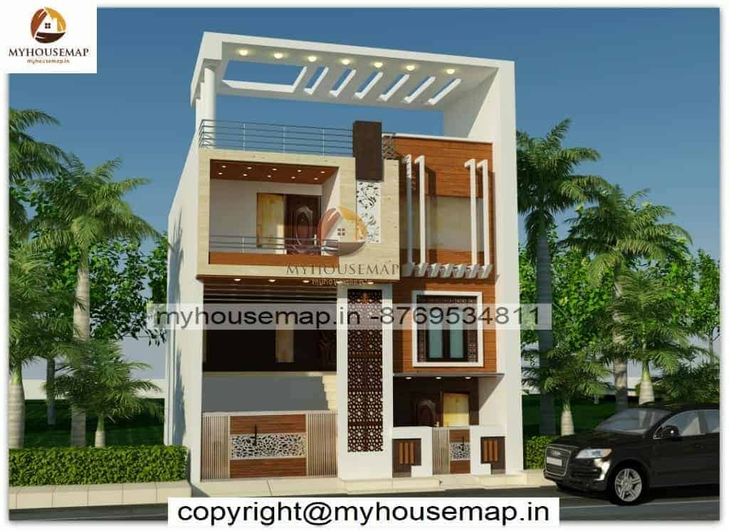 Triple story house front elevation