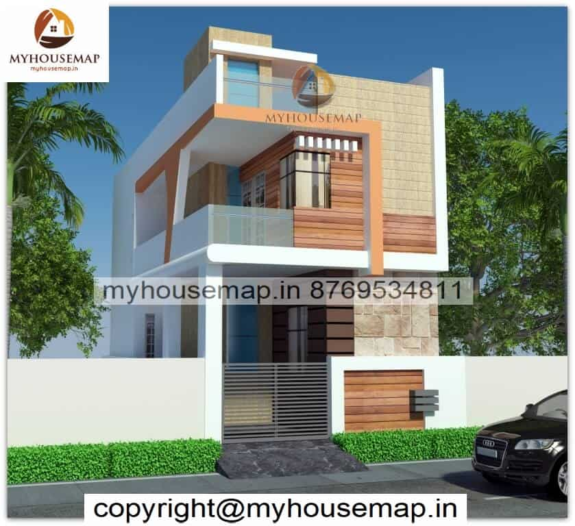 Front Elevation Double Floor Normal House With Glass Section