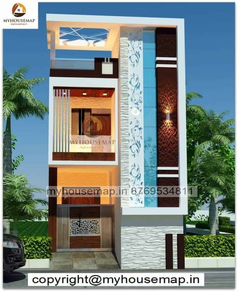 Home Design Elevation With Two Wheeler Parking And Cnc Design