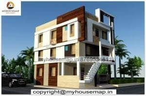 triple story exterior design for home