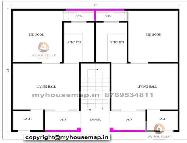 33×24 house plan 2bhk