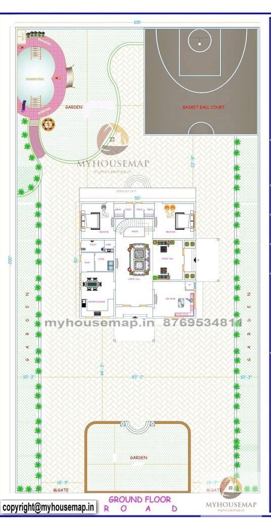 50×50 sqft house plan 2 bhk
