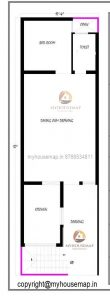 17×57 ft house plan with 1 bhk