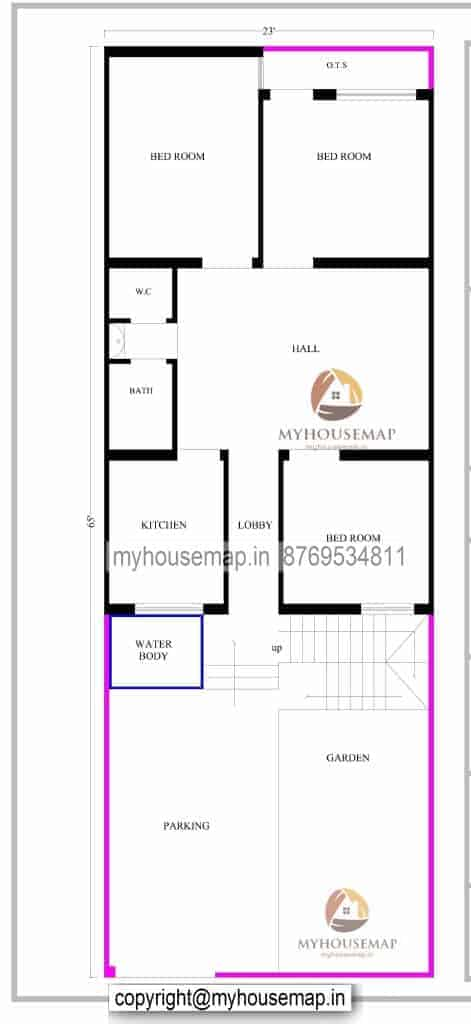 23×65 ft house plan 3 bhk