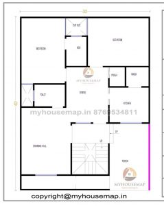 30×40 ft house plan with 2 bhk