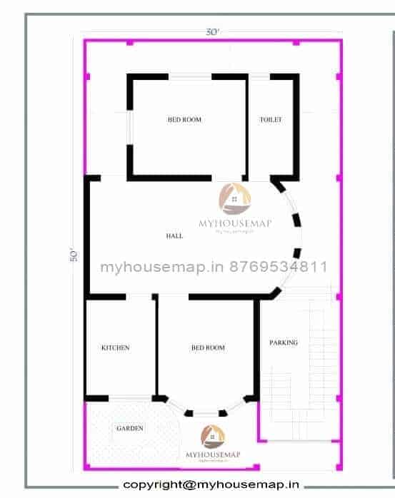 30×50 ft house map 2 bhk