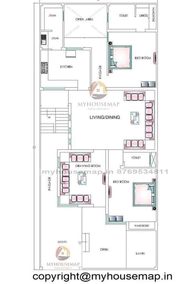 32×72 ft house plan 2 bhk