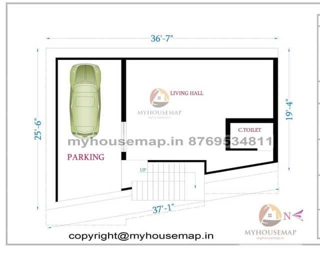 37×25 ft house plan