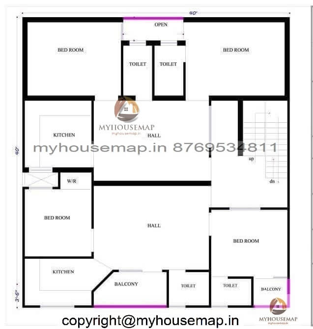 40×40 ft house map 2 bhk